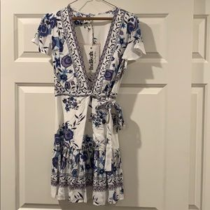Indikah by Angel Biba Floral Print Mini Wrap Dress
